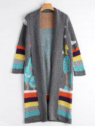 Cartoon Color Block Longline Cardigan
