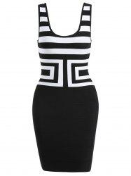 Scoop Neck Sleeveless Bandage Dress - WHITE AND BLACK S