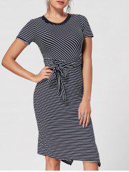 Lace Insert Stripe Slit Bodycon Dress