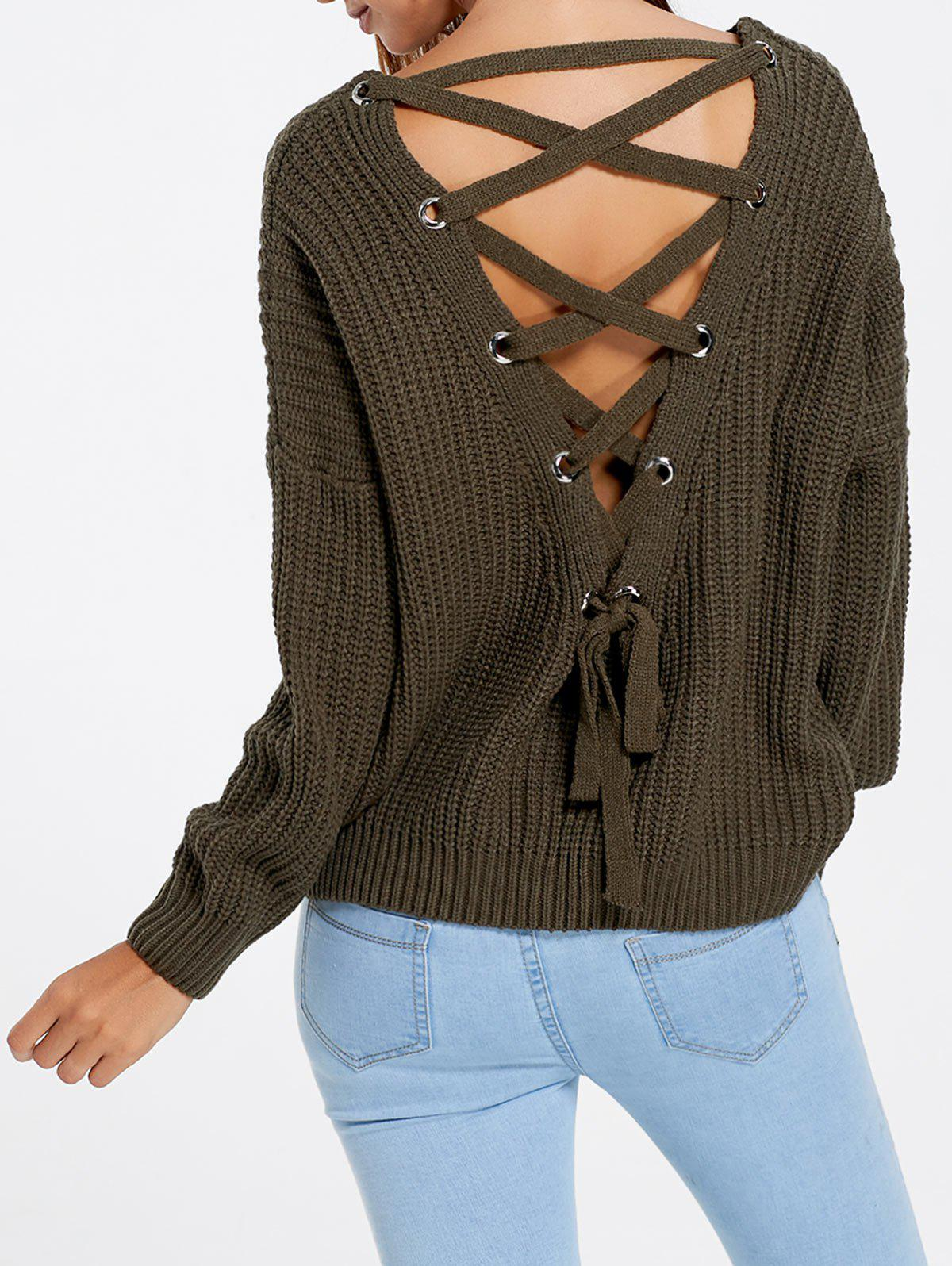 Latest Drop Sleeve Lace Up Chunky Sweater