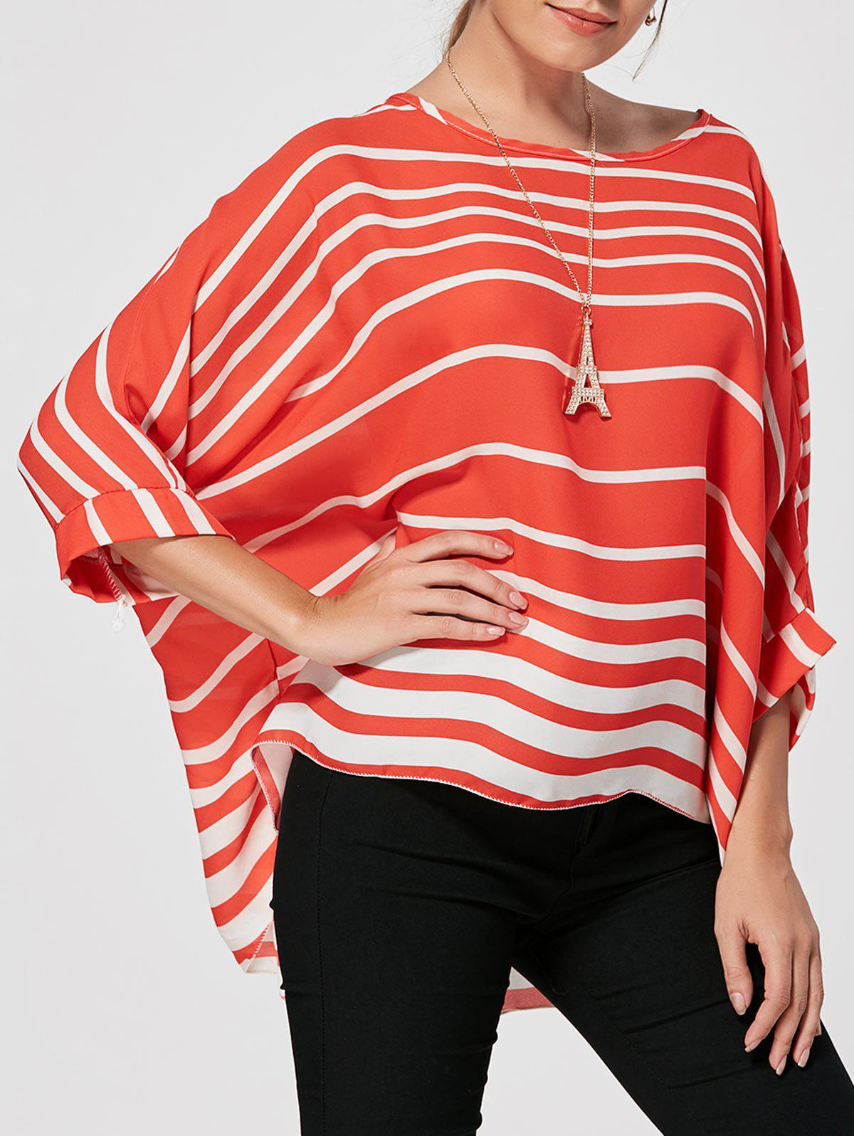 Batwing Sleeve High Low Striped BlouseWOMEN<br><br>Size: XL; Color: RED; Style: Casual; Material: Polyester; Shirt Length: Regular; Sleeve Length: Three Quarter; Collar: Scoop Neck; Pattern Type: Striped; Weight: 0.1650kg; Package Contents: 1 x Blouse  1 x Necklace;