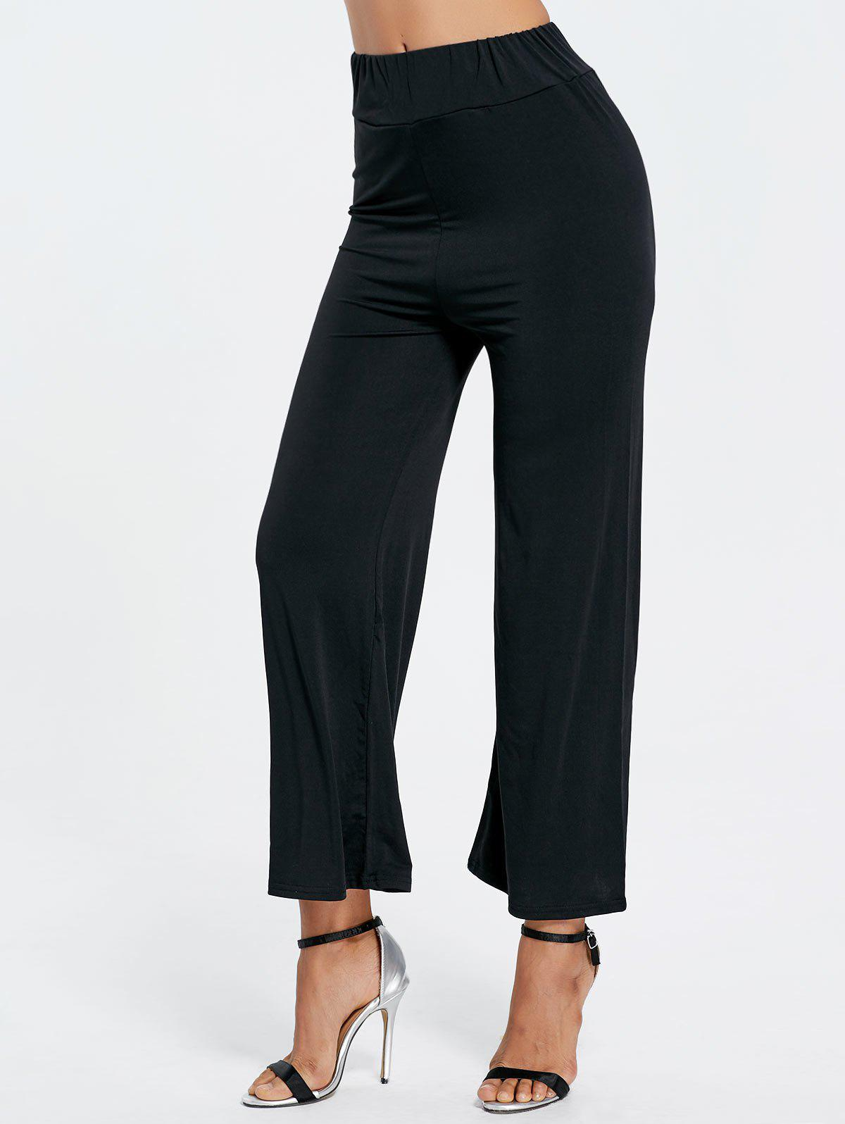 High Waisted Ninth Wide Leg PantsWOMEN<br><br>Size: L; Color: BLACK; Style: Fashion; Length: Normal; Material: Polyester; Fit Type: Loose; Waist Type: Mid; Closure Type: Elastic Waist; Pattern Type: Solid; Pant Style: Wide Leg Pants; Weight: 0.2670kg; Package Contents: 1 x Pants;