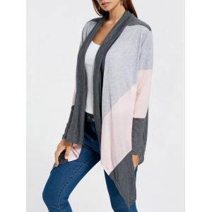 Color Block Drape Front Longline Cardigan - Gray - M