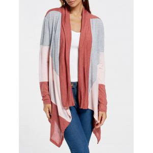 Color Block Drape Front Longline Cardigan - Wine Red - S