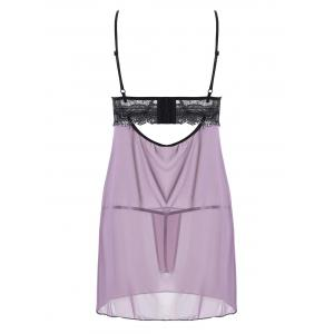 Slip Cut Out Mesh Sheer Babydoll - LIGHT PURPLE S