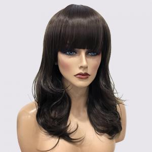 Long Neat Bang Silky Slightly Curly Synthetic Wig - Light Brown - 30inch