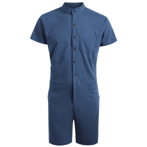 Single Breasted Short Sleeve Romper - DEEP BLUE XL