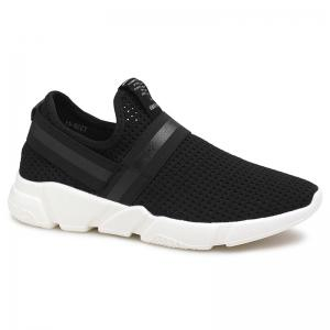 Elastic Band Hollow Out Slip On Casual Shoes - Black - 44