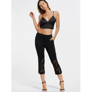 Flare Lace Insert Sheer Pants - BLACK M