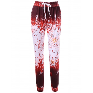 Drawstring Splatter Paint Active Pants