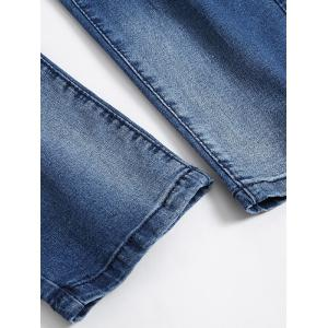 Zip Fly Faded Ripped Jeans - BLUE 32