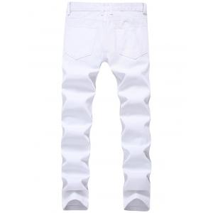 Zip Embellished Ripped Jeans - Blanc 32