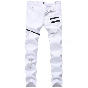 Zip Embellished Ripped Jeans