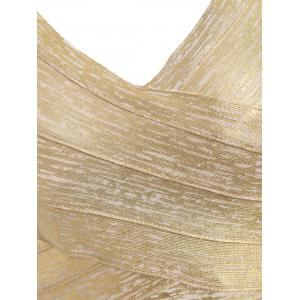 Metallic Night Out Bandage Dress - GOLDEN L