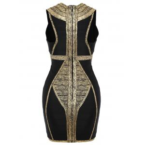 Plunge Neck Color Block Bandage Dress - GOLDEN M