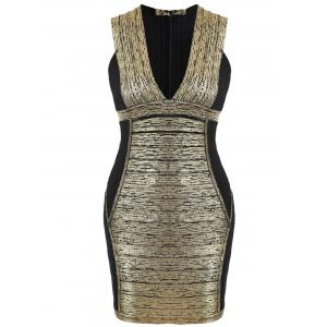 Plunge Neck Color Block Bandage Dress