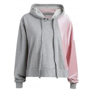 Color Block Plus Size Velvet Hoodie - Gray - 3xl