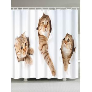 Waterproof Cute Cats Pattern Shower Curtain - White And Brown - W79 Inch * L71 Inch