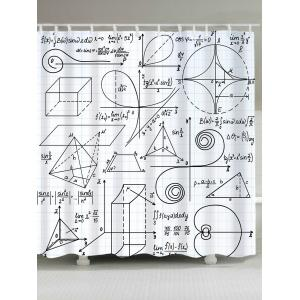Waterproof Mathematical Pattern Shower Curtain - White And Black - W71 Inch * L71 Inch