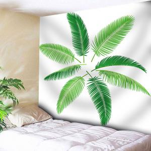 Wall Hanging Plant Leaf Printed Tapestry - White - W91 Inch * L71 Inch