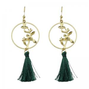 Bird Floating Tassel Fish Hook Earrings
