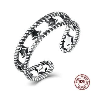 Sterling Silver Star Vintage Cuff Ring - Silver