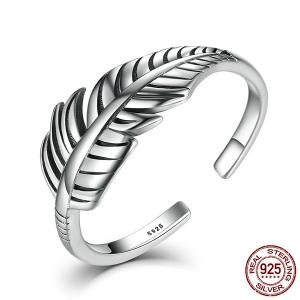 Banana Leaf Open Ring Cuff - Silver - One-size