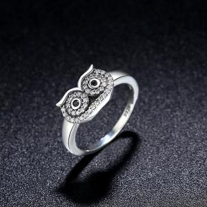 Rhinestoned Sterling Silver Owl Ring - SILVER 6