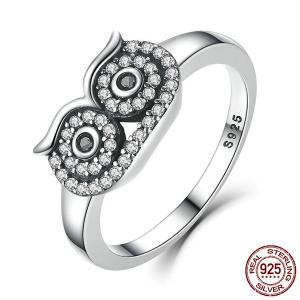 Rhinestoned Sterling Silver Owl Ring - Silver - 8
