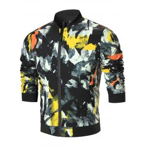 Color Painted Zip Up Jacket - 3xl