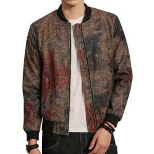Tie Dyed Zip Up Bomber Jacket - Colormix - 5xl