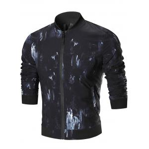 Oil Painting Zip Up Jacket - Colormix - 3xl