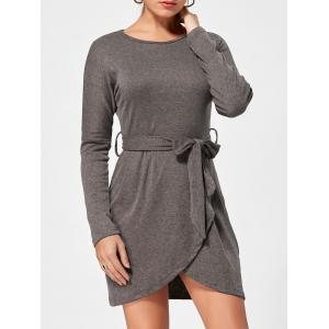 Long Sleeves Belted Casual Dress - Brown - S