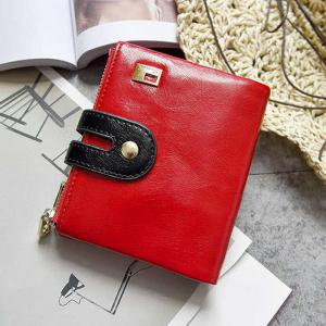 Faux Leather Color Block Bifold Wallets - RED