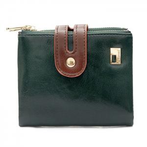 Faux Leather Color Block Bifold Wallets - Green