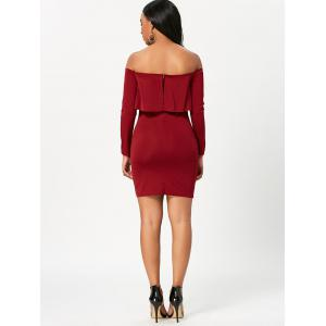 Off The Shoulder Long Sleeve Bodycon Dress - WINE RED L