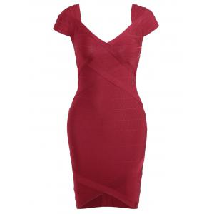Night Out V Neck Bandage Dress - Red - L