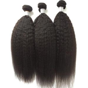 3Pcs/Lot 5A Remy Long Free Part Kinky Straight Indian Human Hair Weaves - NATURAL BLACK 20INCH*22INCH*24INCH