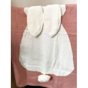 Acrylic Knitted Rabbit Baby Blanket - LIGHT PINK