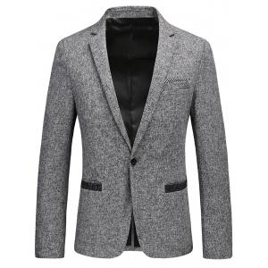 Lapel Collar One Button Tweed Blazer