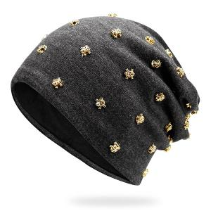 Tiny Skull Rivet Beanie Hat - Grey + Golden Ripple