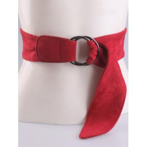 Metallic Double Round Buckle Faux Suede Belt - RED
