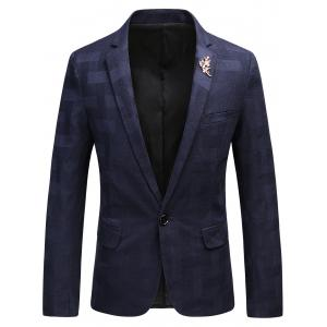 Brooch Design One Button Checked Blazer