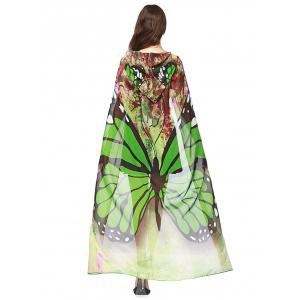 Festival Butterfly Design Chiffon Hooded Cape - Green