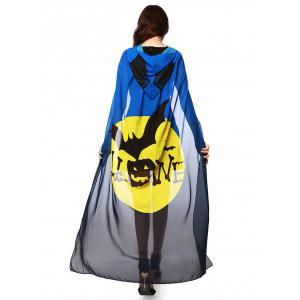 Halloween Witch Element Hooded Chiffon Cape - Blue And Yellow