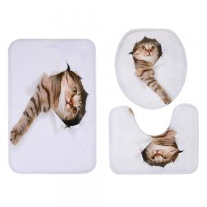 3D Broken Paper Cat Pattern 3 Pcs Bath Mat Toilet Mat -