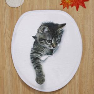 Broken Paper Cat 3D Pattern Ensemble de toilette 3 pcs Mat de bain - Blanc