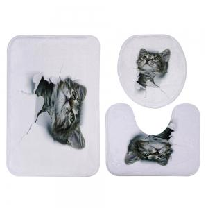 3D Broken Paper Pussy Pattern 3 Pcs Bath Mat Toilet Mat - WHITE