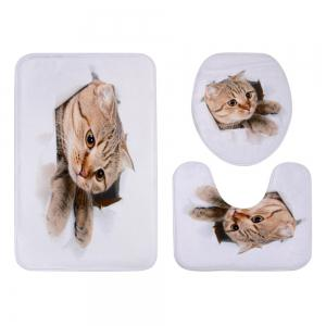 Cat Broken Paper 3D Pattern Ensemble de toilette 3 pcs - Blanc