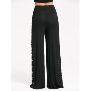 Lace Criss Cross Panel Palazzo Pants - BLACK S